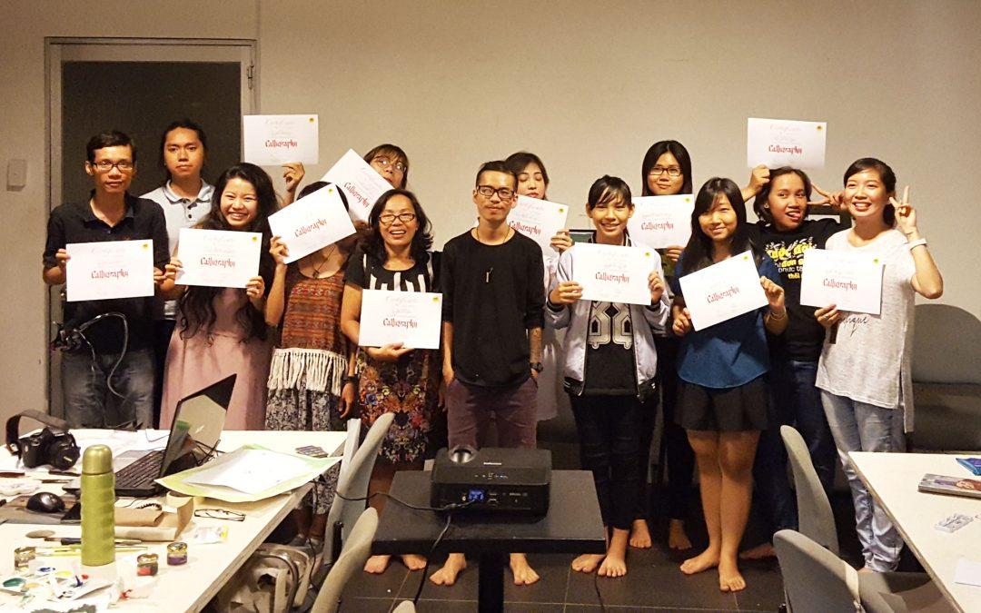 Hình ảnh tổng kết lớp Calligraphy cùng Trí Shiba